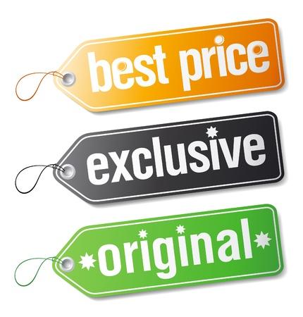 Set van labels voor exclusieve verkoop.