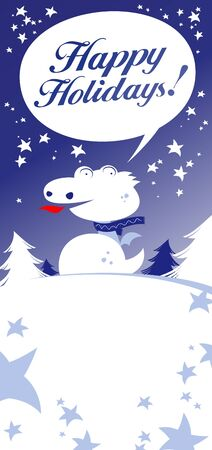 christmas dragon: Christmas card with Dragon, talking Happy Holidays!