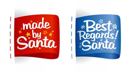 regards: New year clothing labels for gifts from Santa. Illustration