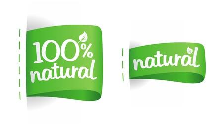 Etiquetas para producción natural. Ilustración de vector