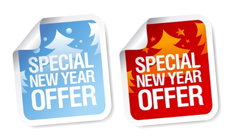 Special New Year offer stickers set. Vector