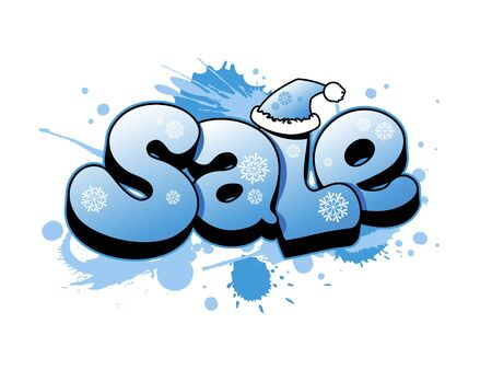 hot deal: Christmas sale vector illustration with snow splashes. Illustration