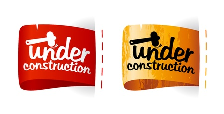 construction project: Under construction labels set.