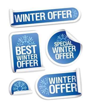 Special winter offer stickers set. Vector