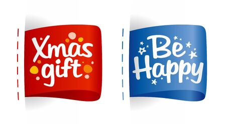 New year and Christmas labels for gifts. Vector