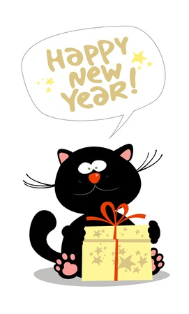 Card with cute little kitten with new years gift. Vector