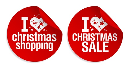 I love Christmas shopping stickers set. Vector