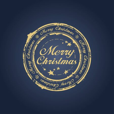 Merry Christmas stamp on blue Vector