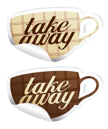 Take away stickers in form of coffee cup. Vector