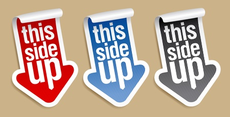this: This side up, packing stickers set Illustration