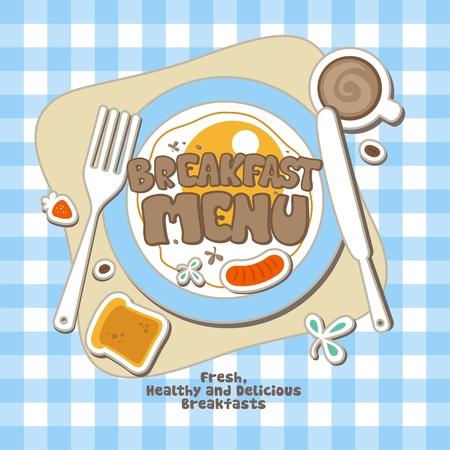continental food: Breakfast Menu Card Design template.