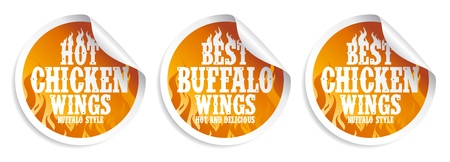 Best hot chicken wings stickers set. Vector