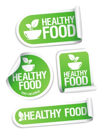 eating healthy: Healthy Food stickers set. Illustration