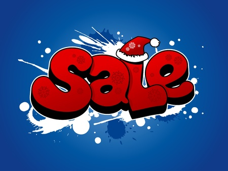 Christmas sale illustration with snow splashes. Stock Vector - 11657512