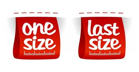 grande e piccolo: Uno, ultime etichette per l'abbigliamento dimensione del set. Vettoriali