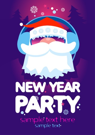 New Year Party design template with Santa and place for text. Vector
