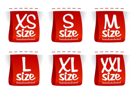 l red: Size clothing labels set.