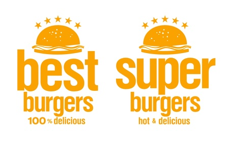 Best burgers signs set. Vector