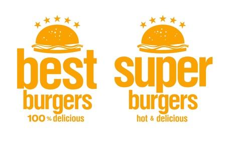 courier service: Best burgers signs set.
