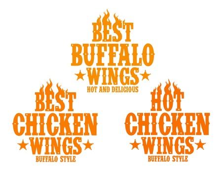 Best hot chicken wings signs. Vector