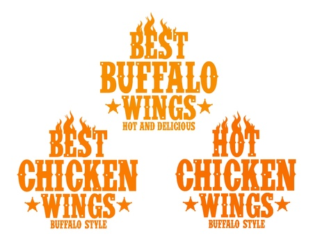 fried: Best hot chicken wings signs. Illustration