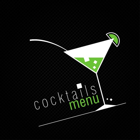 cocktail straw: Coctails Menu Card Design template.