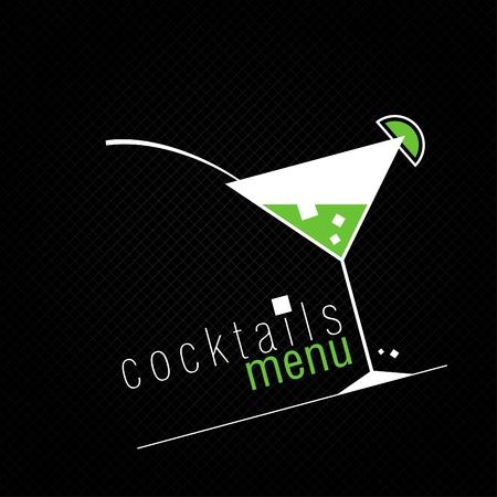 copa martini: Cocteles Tarjeta Men� plantilla de dise�o. Vectores