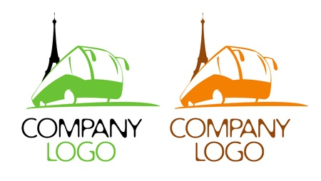 Bus tour logo design template. Illustration