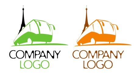 agence de voyage: Excursion en bus logo modèle.