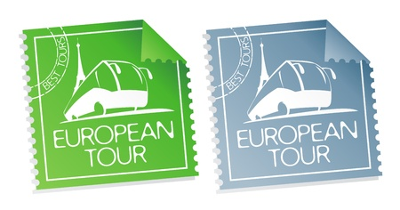 best travel destinations: European tour vector tickets.