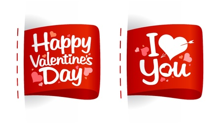 Valentine day labels for gifts with hearts. Stock Vector - 11905859