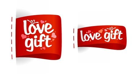 Love gifts Valentine day labels with hearts. Vector