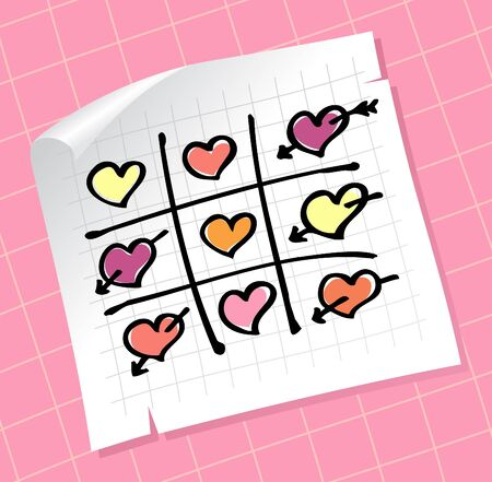 toe: Tic Tac Toe Hearts, Valentine background.