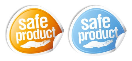 health and safety: Safe product stickers set.