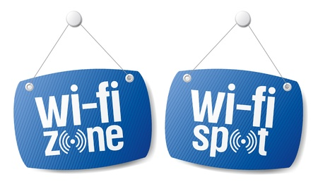 wifi sign: wi-fi internet signal signs to the store and bar. Illustration