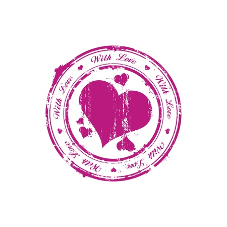 love stamp: With love rubber stamp Illustration