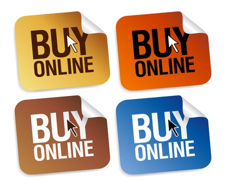 shopping cart button: Buy online stickers set. Illustration
