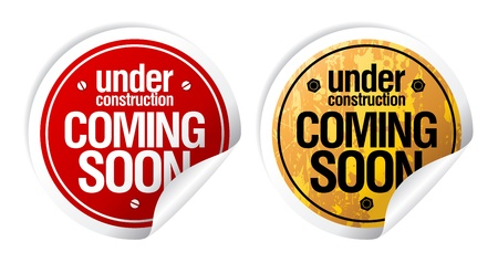 Under construction, Coming soon grunge stickers set. Ilustrace