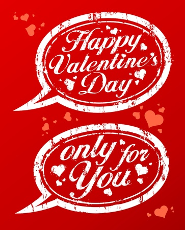 Happy Valentine`s day rubber stamps in form of speech bubbles. Vector