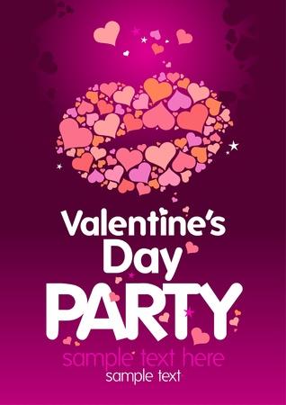Día de San Valentín `s Party diseño de la plantilla con los labios y el lugar de texto.