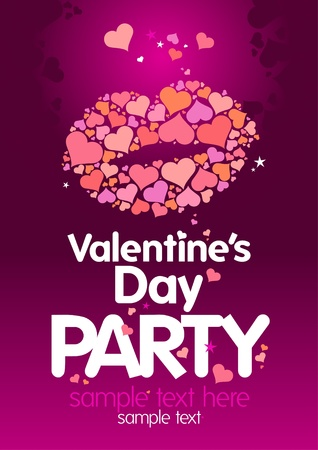 flyer layout: Valentine`s Day Party design template with lips and place for text. Illustration