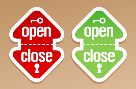 Open and close packing signs. Illustration