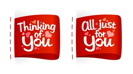 Valentine day labels with hearts. Vector