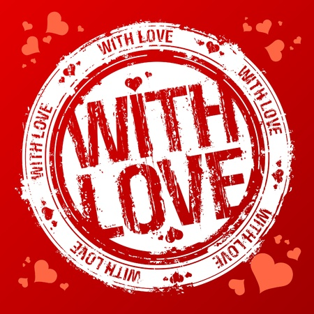 With love vector rubber stamp. Vector