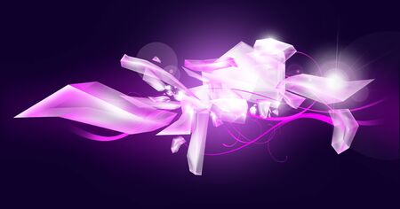 Violet illustration with ice crystals and light rays. Stock Illustration - 11976669