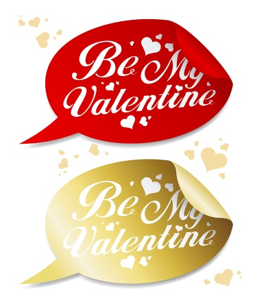Be My Valentine stickers in form of speech bubbles. Illustration