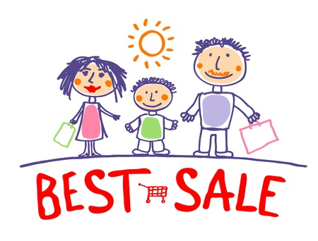 Best sale hand drawn illustration with happy family. Vector