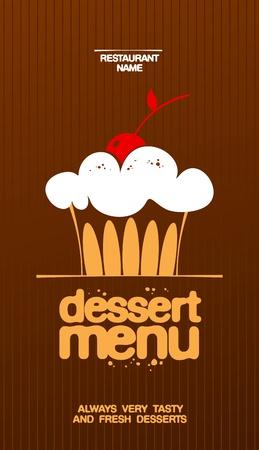 cartoon menu: Dessert Menu Card Design template.