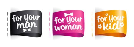 Best gifts for man, woman and kids labels set. Vector