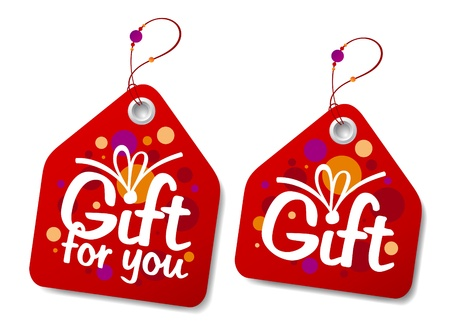 Gift collection labels. Illustration